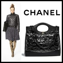 CHANEL Calfskin A4 2WAY Plain Elegant Style Totes