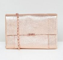 TED BAKER 2WAY Chain Plain Leather Elegant Style Clutches