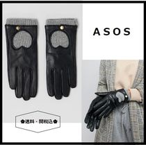 ASOS Heart Blended Fabrics Leather Leather & Faux Leather Gloves