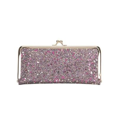 Dots Zigzag With Jewels Folding Wallet Glitter Long Wallets