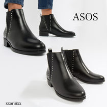 ASOS Plain Toe Casual Style Faux Fur Blended Fabrics Studded