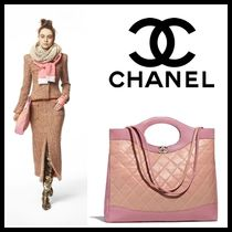 CHANEL Lambskin A4 2WAY Plain Elegant Style Totes