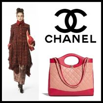 CHANEL Lambskin A4 2WAY Bi-color Plain Elegant Style Totes