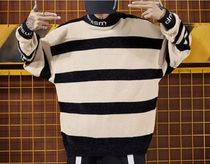 Stripes Street Style Long Sleeves Oversized Knits & Sweaters