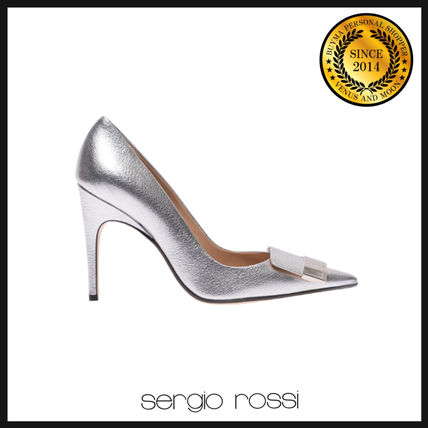 Plain Leather Elegant Style Pointed Toe Pumps & Mules