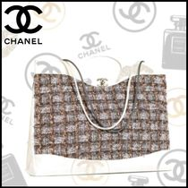 CHANEL Other Check Patterns Calfskin Blended Fabrics 2WAY