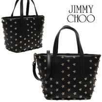 Jimmy Choo Star Calfskin Studded 2WAY Elegant Style Totes