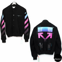 Off-White Short Stripes Unisex Wool Street Style MA-1 Bomber Jackets