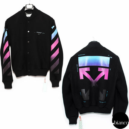 d56bf4104 Off-White 2018-19AW Short Stripes Unisex Wool Street Style MA-1 Bomber  Jackets (OMEA145F18A32005 1088)