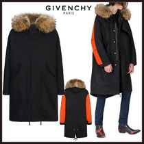 GIVENCHY Blended Fabrics Street Style Plain Long Oversized Parkas