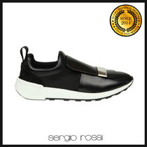Sergio Rossi Round Toe Rubber Sole Casual Style Plain Leather