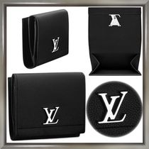Louis Vuitton LOCKME Unisex Calfskin Plain Folding Wallets