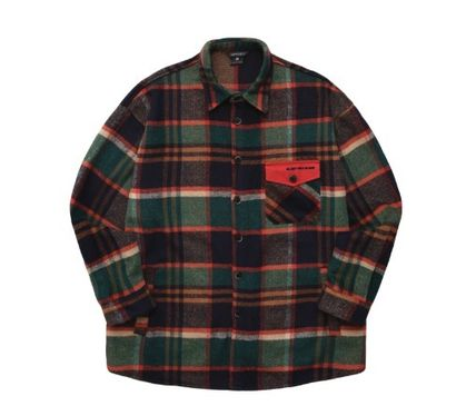 WV PROJECT Shirts Glen Patterns Unisex Wool Street Style Long Sleeves 13