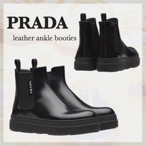 PRADA Rubber Sole Leather Ankle & Booties Boots