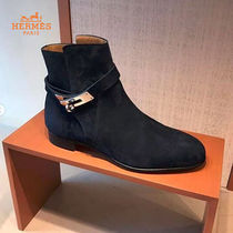 HERMES Suede Plain Elegant Style Ankle & Booties Boots
