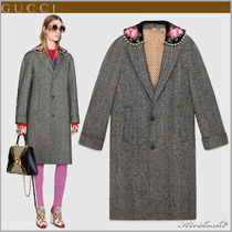 GUCCI Stripes Flower Patterns Velvet Long With Jewels
