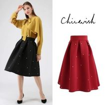 Chicwish Pleated Skirts Plain Medium With Jewels Elegant Style