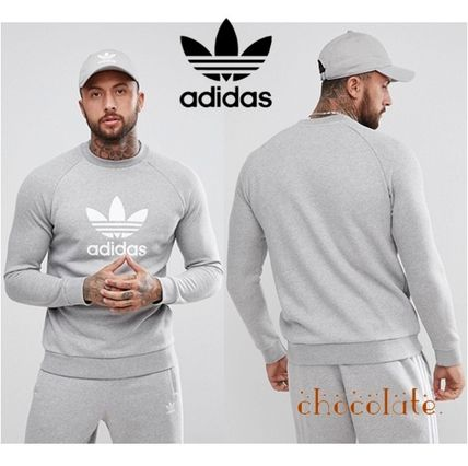 adidas Sweatshirts Crew Neck Pullovers Sweat Street Style Long Sleeves Plain