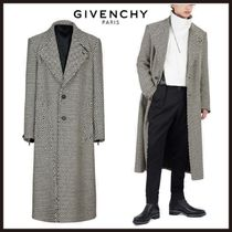 GIVENCHY Zigzag Wool Long Oversized Chester Coats