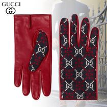 GUCCI Monoglam Leather Leather & Faux Leather Gloves