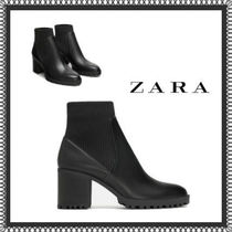 ZARA Plain Toe Casual Style Plain Block Heels