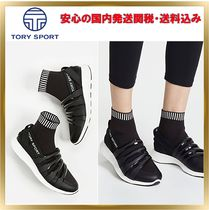 TORY SPORT Round Toe Rubber Sole Unisex Street Style Plain Leather