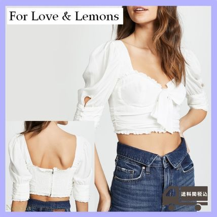 Short Puffed Sleeves Plain Cropped