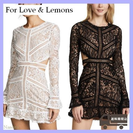 Short Flared Long Sleeves Plain Party Style Lace Dresses