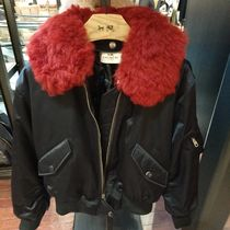 Coach Short Fur Blended Fabrics Street Style Plain