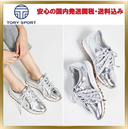 Round Toe Rubber Sole Lace-up Unisex Street Style Plain