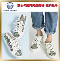 TORY SPORT Flower Patterns Platform Round Toe Lace-up Casual Style