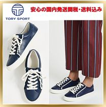 TORY SPORT Round Toe Rubber Sole Lace-up Unisex Plain Leather