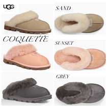 UGG Australia Round Toe Rubber Sole Casual Style Sheepskin Plain Slippers