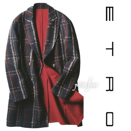 Other Check Patterns Wool Street Style Plain Midi Coats