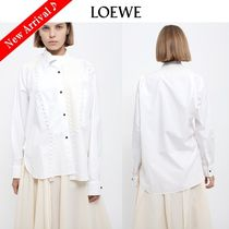 LOEWE Linen Long Sleeves Plain Medium Oversized Elegant Style