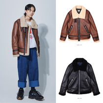 OPEN THE DOOR Unisex Street Style Plain Leather Medium Oversized
