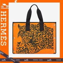 HERMES Leopard Patterns Canvas A4 Totes