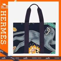 HERMES Canvas A4 Other Animal Patterns Totes