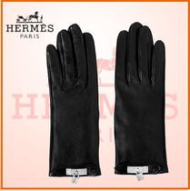 HERMES Kelly Blended Fabrics Plain Leather Leather & Faux Leather Gloves
