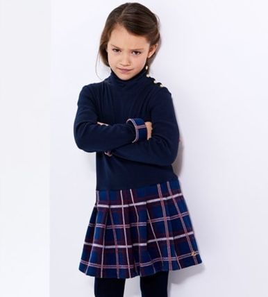 Blended Fabrics Kids Girl Dresses