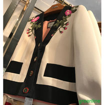 GUCCI Flower Patterns Wool Bi-color Elegant Style Jackets