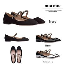 MiuMiu Plain Leather Ballet Shoes