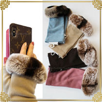 FURLA Blended Fabrics Plain Smartphone Use Gloves
