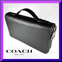 Coach Unisex 2WAY Plain Leather Clutches