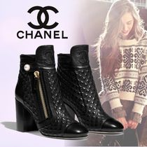 CHANEL Round Toe Plain Leather Chunky Heels Ankle & Booties Boots