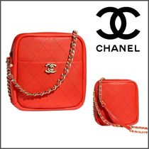 CHANEL Lambskin Chain Plain Elegant Style Handbags