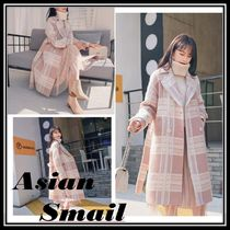 Other Check Patterns Casual Style Wool Long Duffle Coats