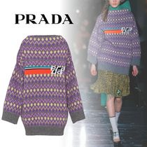PRADA Crew Neck Wool Long Sleeves Oversized Knits & Sweaters