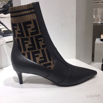 FENDI Plain Leather Pin Heels Chelsea Boots Ankle & Booties Boots