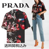 PRADA Cotton Short Sleeves Elegant Style Shirts & Blouses